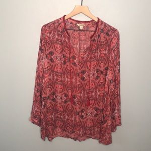 Lucky Brand v-neck printed long sleeve blouse 2X